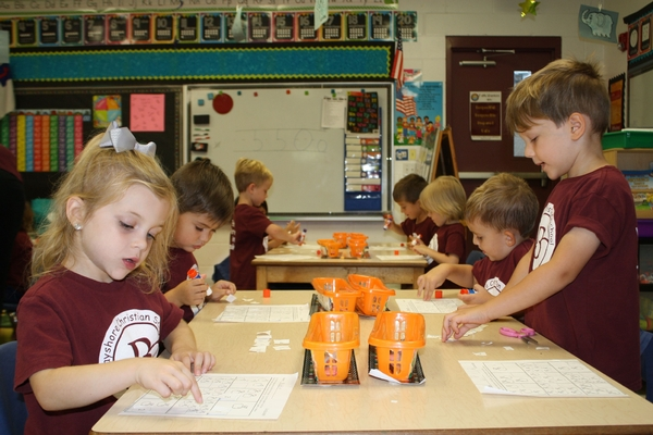 preschool students work in classroom