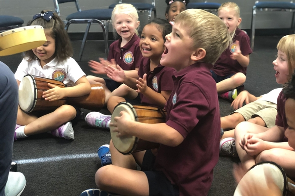 preschool students in music class